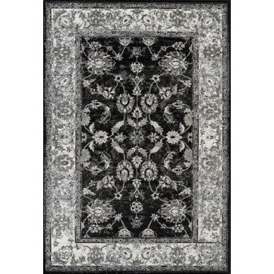 Honig Transitional Black Area Rug Rug Size: Rectangle 89 x 119