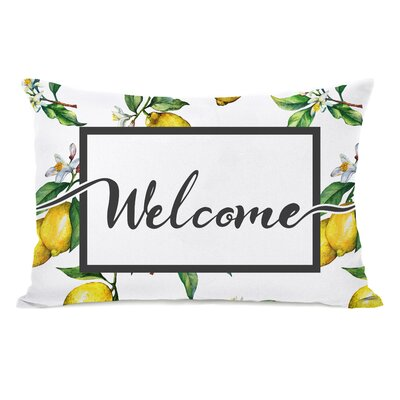 Fenderson Welcome Lemon Outdoor Lumbar Pillow