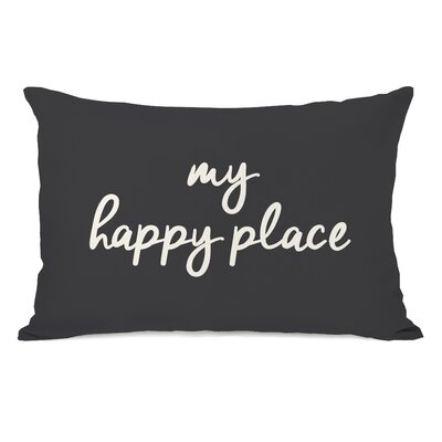 Peltz My Happy Place Outdoor Lumbar Pillow Color: Charcoal