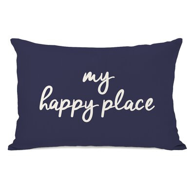 Peltz My Happy Place Outdoor Lumbar Pillow Color: Midnight