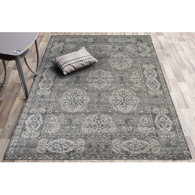 Honig Transitional Gray Area Rug Rug Size: Round 6'7