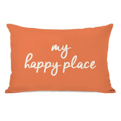Peltz My Happy Place Outdoor Lumbar Pillow Color: Tangerine