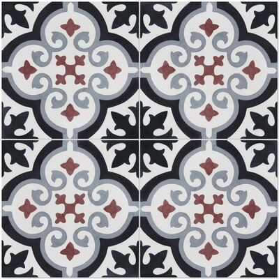 Fiore E Winter 8 x 8 Cement Field Tile in Black/White