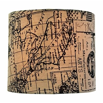 Map Postcard Hardback Paper Drum Lamp Shade Size: 9 H x 14 W x 14 D