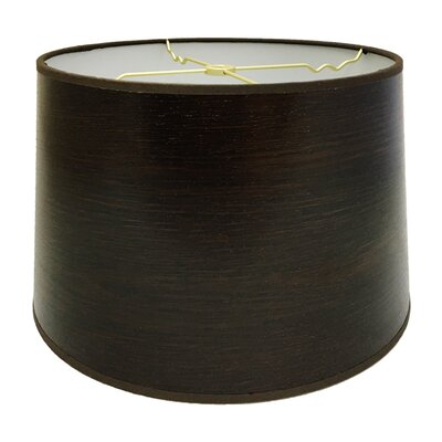 Wood Texture Hardback Paper Drum Lamp Shade Finish: Black, Size: 10 H x 14 W x 14 D