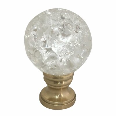 Small Ball Crystal Lamp Finial Finish: Antique Brass Base