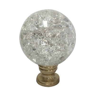 Small Ball Crystal Lamp Finial Finish: Polished Brass Base