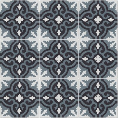 Fiore C Mountain 8 x 8 Cement Field Tile in Black/White