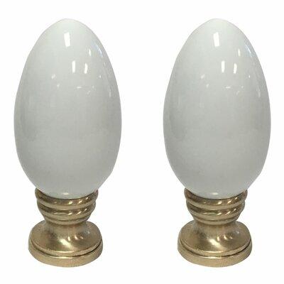 Ceramic Egg Shaped Lamp Finial Finish: White