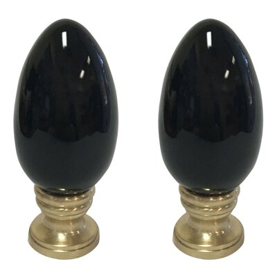 Ceramic Egg Shaped Lamp Finial Finish: Black