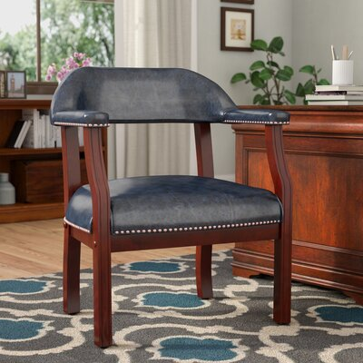 Pershore Vinyl Guest Chair Color: Blue, Casters: Yes