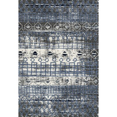 Mantz Modern Blue/Ivory/Gray Area Rug Rug Size: Rectangle 26 x 91