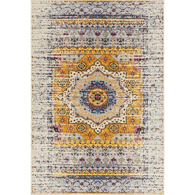 Penson Transitional Ivory/Blue/Orange Area Rug Rug Size: Rectangle 53 x 76