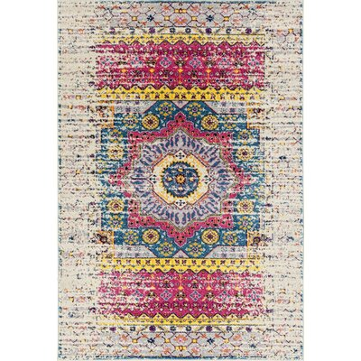 Penson Transitional Pink/Ivory Area Rug Rug Size: Rectangle 53 x 76
