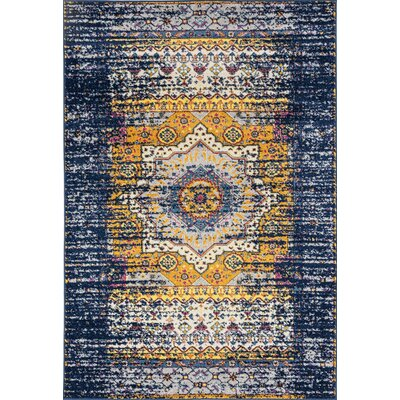 Penson Transitional Orange/Navy Area Rug Rug Size: Rectangle 26 x 76