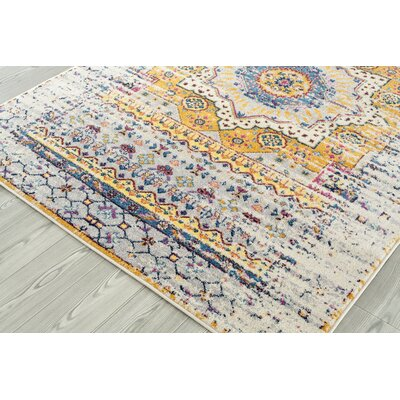 Penson Transitional Ivory/Blue/Orange Area Rug Rug Size: Square 66 x 66