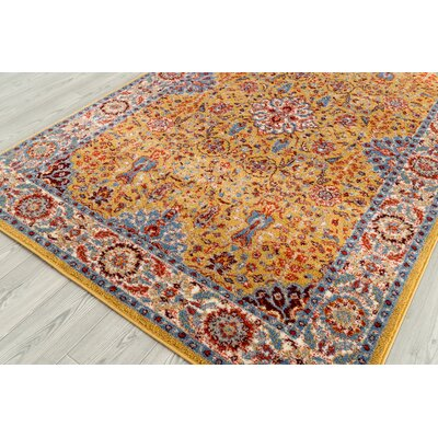 Parrett Transitional Yellow Area Rug Rug Size: Rectangle 26 x 103