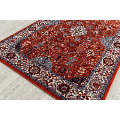 Parrett Transitional Crimson Area Rug Rug Size: Rectangle 51 x 76