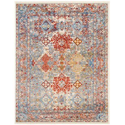 Penton Transitional Red/Blue/Beige Area Rug Rug Size: Rectangle 51 x 76