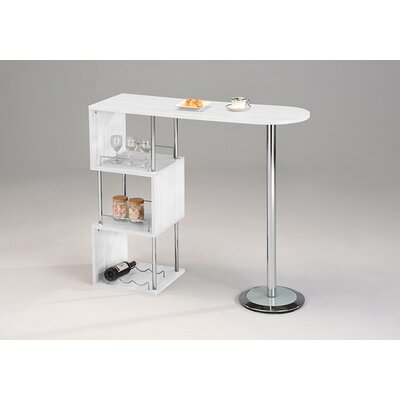 Seigler Wood and Chrome Metal Pub Table Color: White