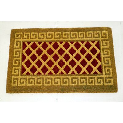 Rieke Diamonds Greek Key Border Doormat Mat Size: Rectangle 30 W x 48 L