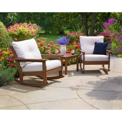 Vineyard Deep Seating 3 Piece Conversation Set with Cushions Frame Finish: Teak, Cushion Color (Fabric): Antique Beige PWS396-2-TE8322
