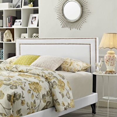 Huntsman Upholstered Platform Bed Color: White, Size: Full/Double