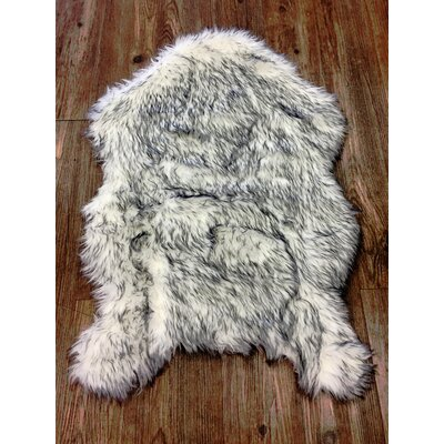 Hein Faux Fur White/Gray Indoor Area Rug