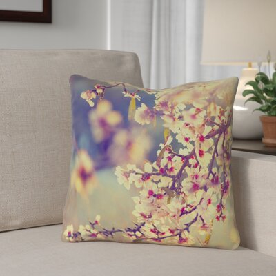 Ghost Train Cherry Blossoms Outdoor Throw Pillow Size: 16 H x 16 W