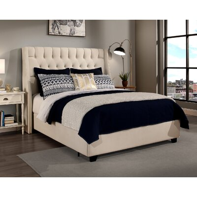 Difranco Upholstered Panel Bed with Mattress Size: California King, Color: Ivory
