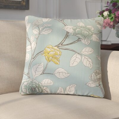 Gualtiero Floral Cotton Throw Pillow Color: Aqua