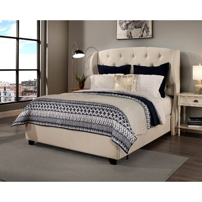 Sornson Upholstered Panel Bed with Mattress Size: King, Color: Ivory