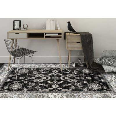 Honig Transitional Black Area Rug Rug Size: Round 67 x 67