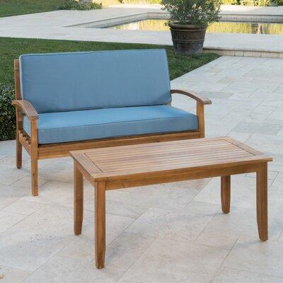 Bay Isle Home Bellapais 2 Piece Conversation Set With Cushions Cushion Color: Blue