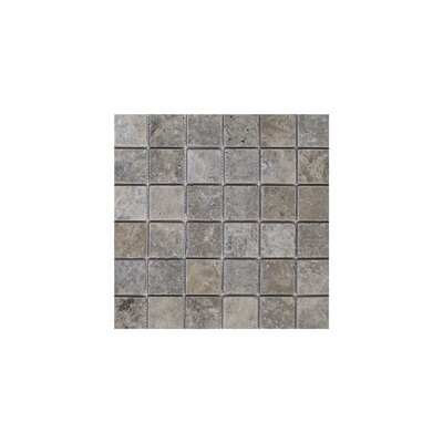 Philadelphia 2 x 2 Travertine Mosaic Tile in Dark Gray