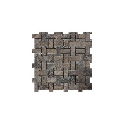 Philadelphia Basketweave 1 x 2 Travertine Mosaic Tile in Dark Gray