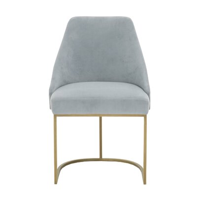Labriola Upholstered Dining Chair (Set of 2) Upholstery Color: Blue, Leg Color: Gold