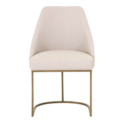 Labriola Upholstered Dining Chair (Set of 2) Upholstery Color: Cream, Leg Color: Gold