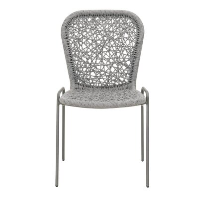 Lowther Upholstered Dining Chair (Set of 4) Upholstery Color: Platinum, Leg Color: Storm Gray
