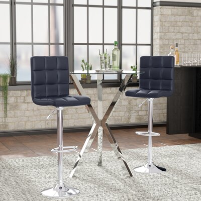 Cassini Adjustable Height Swivel Bar Stool Upholstery: Black