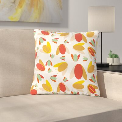 Love Midge 70s Floral Geometric Floral Outdoor Throw Pillow Size: 18 H x 18 W x 5 D, Color: Orange