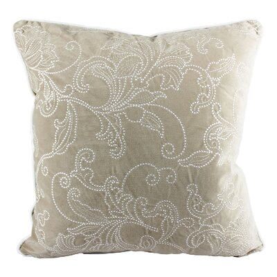 Faisan Embroidery Indoor/Outdoor Throw Pillow Color: Beige