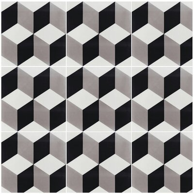 Cubes A Sencillo 8 x 8 Cement Field Tile in Black/Gray