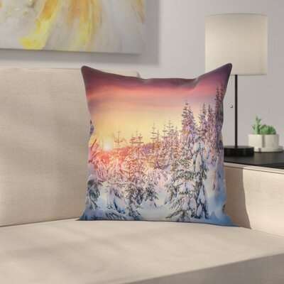 Forest Sunrise at Wintertime Square Pillow Cover Size: 16 x 16