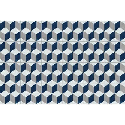Cubes A Nautique 8 x 8 Cement Field Tile in Blue/Gray/White
