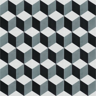 Cubes A Mountain 8 x 8 Cement Field Tile in Blue/Gray/White