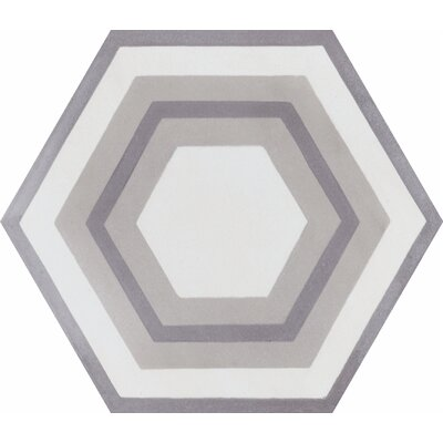 Concentric Hex J 8 x 8 Cement Field Tile in White/Gray