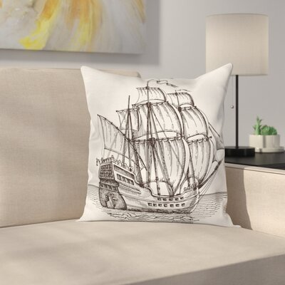 Pirate Ship Retro Ship on Water Square Cushion Pillow Cover Size: 20 x 20