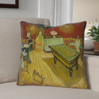 Burdick The Night Cafe Linen Throw Pillow Size: 14 H x 14 W