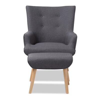 Crantor Lounge Chair and Ottoman Upholstery: Dark Gray